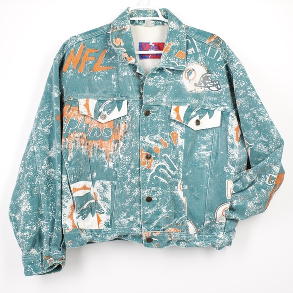 new concept dd569 44341 Vintage NFL Miami Dolphins Pro Player Jean Jacket